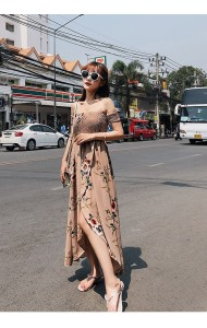 KDS04134736D Off shoulder asymmetric floral dress REAL PHOTO