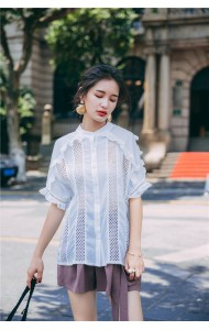 KTP062931992FN Ruffle sleeves hollow shirt ACTUAL PHOTO