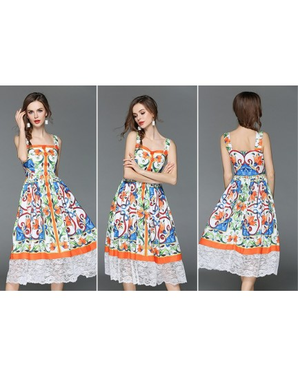 BDS04158106J Printed dress with lace trim REAL PHOTO