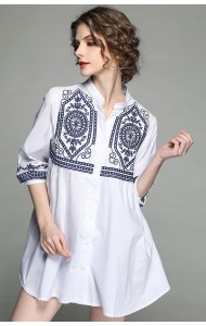 BTP04154896J Embroidery V neck blouse ACTUAL PHOTO