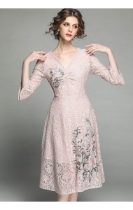 BDS04156896J V neck embroidery lace dress REAL PHOTO