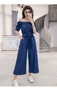 KJP04165569G Soft denim off shoulder jumpsuit REAL PHOTO