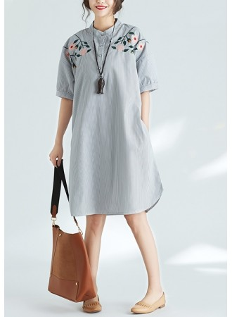 KDS04170101Y Plus size embroidery stripes dress REAL PHOTO