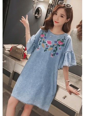 KDS04177068X Plus size embroidery soft jeans dress REAL PHOTO