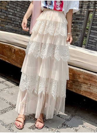 KSK04185922A Lace layer skirt REAL PHOTO