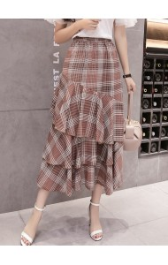 KSK041867869X Plaid layer skirt REAL PHOTO