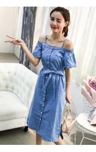 KDS04240363X Off shoulder soft denim dress REAL PHOTO