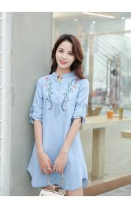 KDS04241066X Embroidery soft denim dress REAL PHOTO