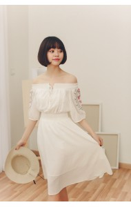 KDS04258081T Off shoulder embroidery dress REAL PHOTO