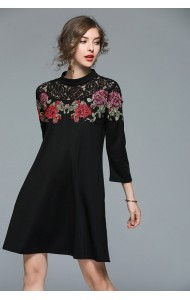 BDS04267217D Embroidery lace shoulder dress REAL PHOTO c4c551df2