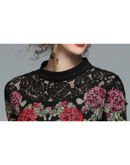 BDS04267217D Embroidery lace shoulder dress REAL PHOTO