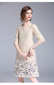 BDS04264436D Embroidery dress with lace sleeves REAL PHOTO