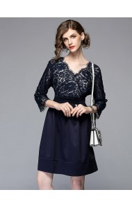 BDS04264823M Plus size V neck lace dress REAL PHOTO