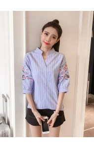 KTP04266895D Stripes embroidery shirt REAL PHOTO