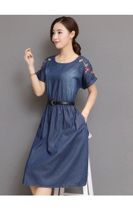 KDS0426305J Plus size denim dress with embroidery sleeves REAL PHOTO