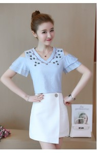KTP04265305Y Off shoulder embroidery linen shirt REAL PHOTO
