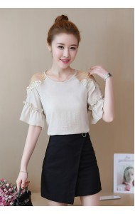 KTP04267305Y Trumpet sleeves chiffon blouse REAL PHOTO
