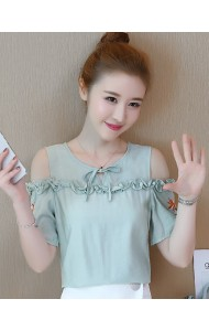 KTP04266305Y Off shoulder embroidery linen blouse REAL PHOTO