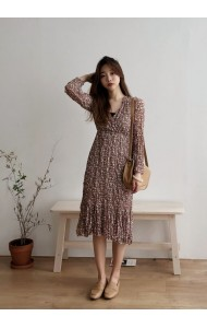 KDS04291826K Floral overlapping midi dress REAL PHOTO