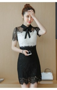 KDS0430031A Celebrities bow lace dress REAL PHOTO