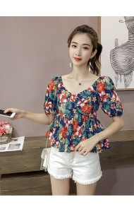 KTP05089206M V neck floral puffy blouse REAL PHOTO