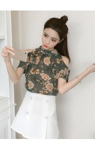 KTP05083268M Bat wing off shoulder floral blouse REAL PHOTO