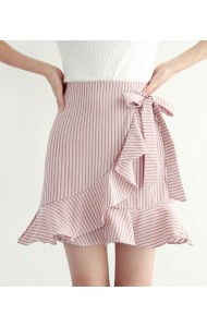 KSK050984048H Stripes trumpet mini skirt with bow REAL PHOTO