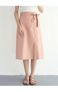 KSK050971058H Drawstring split ribbon midi skirt REAL PHOTO