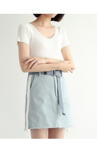 KSK050901058H High waisted belted skirt REAL PHOTO