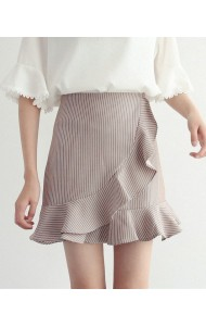 KSK050953048H Stripes trumpet mini skirt REAL PHOTO
