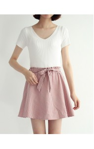KSK050958048H Plaid ribbon mini skirt REAL PHOTO