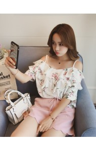 KTP0515656M Off shoulder floral strappy shirt REAL PHOTO