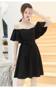KDS0516130H Off shoulder trumpet sleeves dress REAL PHOTO