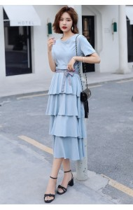 KDS0516580H Tiered dress with bow REAL PHOTO