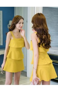 KDS0516963M Sweety tiered dress in yellow REAL PHOTO