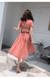 KDS0516319H Bare back slim midi linen dress REAL PHOTO