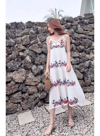 KDS05177318Y Embroidery floral maxi dress REAL PHOTO