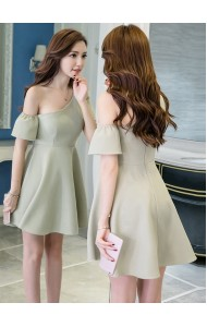 KDS05178011B Oblique shoulder mini dress REAL PHOTO
