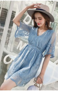 KDS05186211Y Embroidery bared back lace dress REAL PHOTO