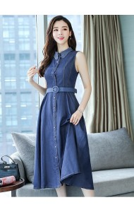 KDS05182285Y Soft denim dress with crochet collar REAL PHOTO