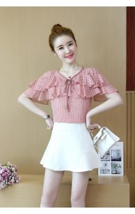 KTP05185230A Ruffle plaid blouse REAL PHOTO