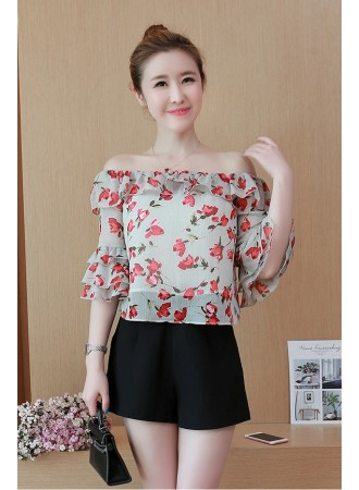 KTP05181230A Off shoulder ruffle floral blouse REAL PHOTO