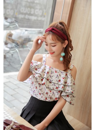 KTP05203055Y Off shoulder ruffle floral blouse REAL PHOTO