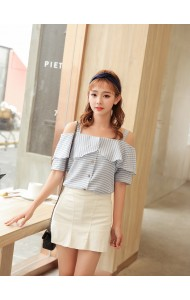 KTP05207055Y Off shoulder plaid blouse REAL PHOTO