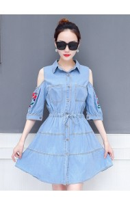 KDS0522815Y Embroidery shoulder off soft denim dress REAL PHOTO
