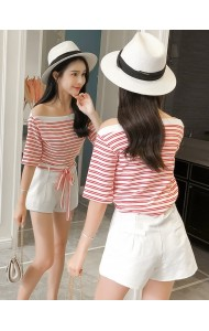 KST0522558R Shoulder off stripes pants set REAL PHOTO