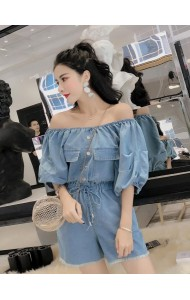 KJP05245204QN Shoulder off puff sleeves denim jumpsuit REAL PHOTO