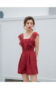 KJP05240309X Crochet V neck jumpsuit in red REAL PHOTO
