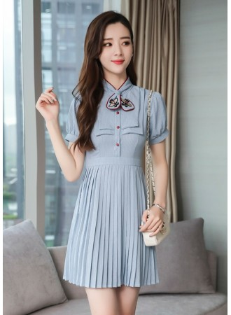 KDS05259195H Pleated stripes dress with bow collar REAL PHOTO