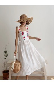 KDS05288298S Embroidery ribbon linen dress REAL PHOTO